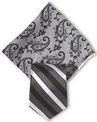Pochette de costume imprimée cachemire grise