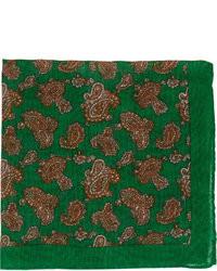 Pochette de costume imprimée cachemire vert foncé
