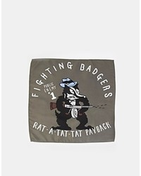 Pochette de costume imprimée gris foncé Asos