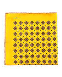 Pochette de costume imprimée jaune