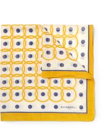 Pochette de costume imprimée jaune Boglioli