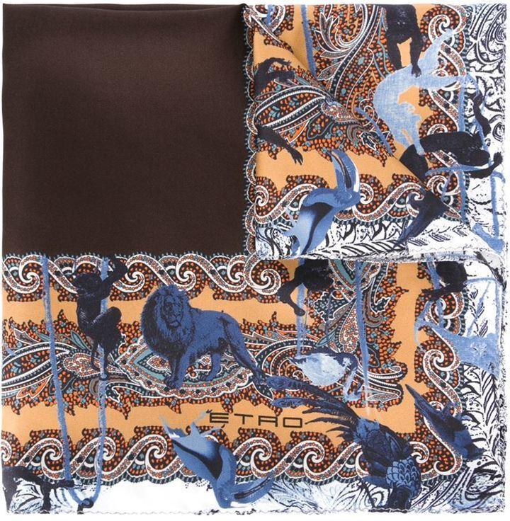 Pochette de costume imprimée marron Etro