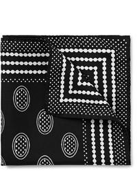 Pochette de costume imprimée noire et blanche