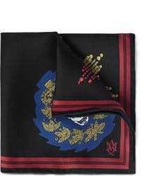 Pochette de costume imprimée noire Alexander McQueen