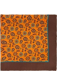 Pochette de costume imprimée orange