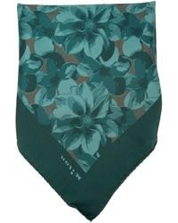 Pochette de costume imprimée vert foncé Kiton