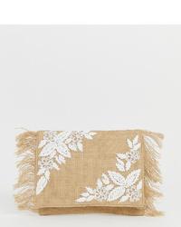 Pochette de paille à fleurs beige Glamorous