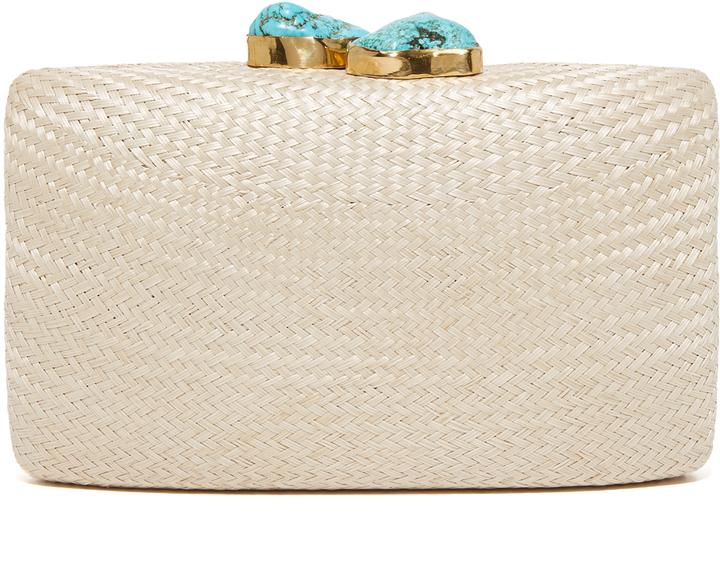 Pochette de paille blanche Kayu