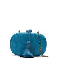 Pochette de paille bleue Serpui