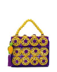 Pochette de paille violette Mercedes Salazar