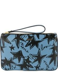 Pochette en cuir à étoiles bleu clair Lanvin