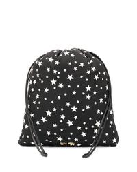 Pochette en cuir à étoiles noire et blanche