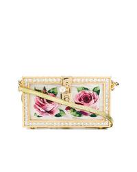 Pochette en cuir à fleurs dorée Dolce & Gabbana