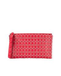 Pochette en cuir à fleurs rouge RED Valentino