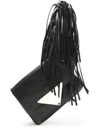 Pochette en cuir à franges noire Sara Battaglia