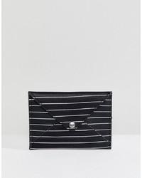 Pochette en cuir à rayures horizontales noire et blanche Pull&Bear