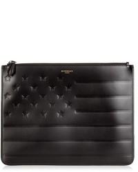 Pochette en cuir à rayures horizontales noire