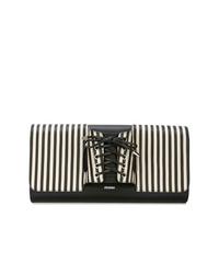 Pochette en cuir à rayures verticales blanche et noire Perrin Paris