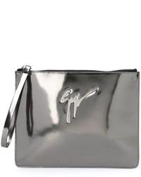 Pochette en cuir argentée Giuseppe Zanotti Design