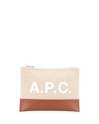 Pochette en cuir beige A.P.C.