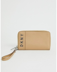 Pochette en cuir beige DKNY