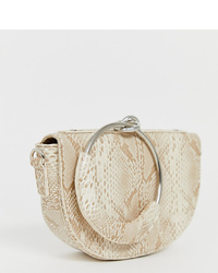 Pochette en cuir beige My Accessories