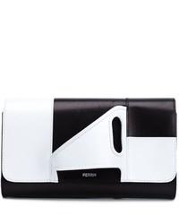 Pochette en cuir blanche et noire