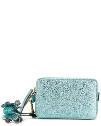 Pochette en cuir bleu clair Anya Hindmarch
