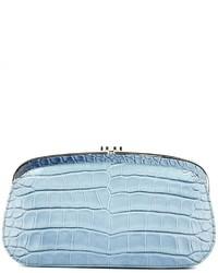 Pochette en cuir bleu clair Chanel