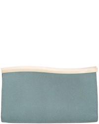 Pochette en cuir bleu clair Valextra