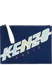 Pochette en cuir bleu marine Kenzo