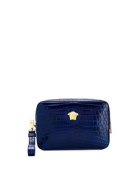 Pochette en cuir bleu marine Versace