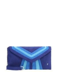Pochette en cuir bleue marine Menbur