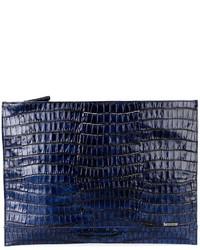 Pochette en cuir bleue marine Zanellato