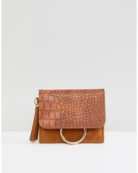 Pochette en cuir brune French Connection