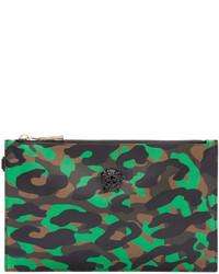 Pochette en cuir camouflage olive Versace