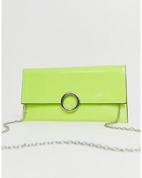 Pochette en cuir chartreuse New Look