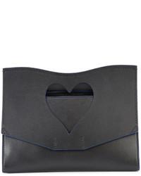 Pochette en cuir découpée noire Proenza Schouler
