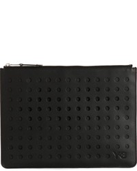 Pochette en cuir découpée noire Y-3