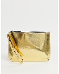 Pochette en cuir dorée ASOS DESIGN