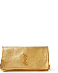 Pochette en cuir dorée Saint Laurent