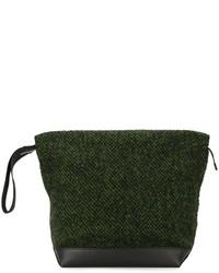 Pochette en cuir en tricot vert foncé Marni