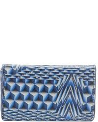 Pochette en cuir géométrique bleue
