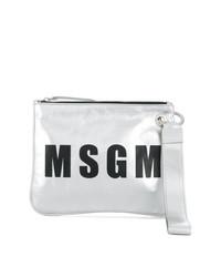 Pochette en cuir imprimée argentée MSGM