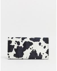 Pochette en cuir imprimée blanche et noire ASOS DESIGN