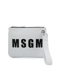 Pochette en cuir imprimée blanche et noire MSGM