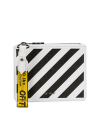 Pochette en cuir imprimée blanche et noire Off-White