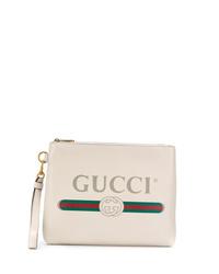 Pochette en cuir imprimée blanche Gucci