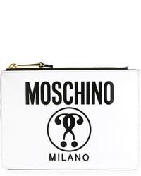 Pochette en cuir imprimée blanche Moschino