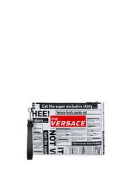 Pochette en cuir imprimée blanche Versace